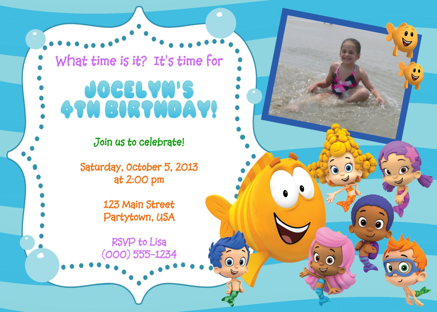 Personalized Bubble Guppies Invitations by PartyTimeFun on ...