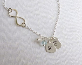 Sterling Silver Infinity Birthstone Initial Necklace  -- Choose How Many Initials and Stones