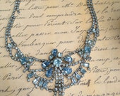 Huge chunky baby blue rhinestone necklace circa 1950s