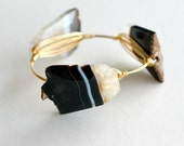 Chunky Black and White Agate and Wire Bangle