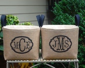 20% OFF! Monogram Burlap Small Burlap Bin perfect for baby gift, nursery decor, bridesmaid gift ...Charming burlap home decor.