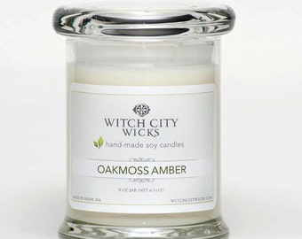 Oakmoss Amber scented soy jar candle, Spring candle, Mother's Day / Bridesmaid, Wedding gift
