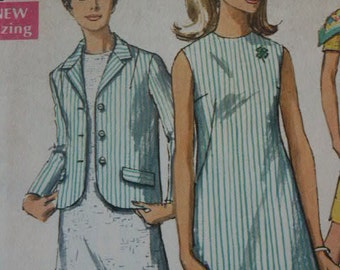 Vintage 1968 Simplicity  MOD A Line Classic Dress & Jacket  7641 Sewing Pattern Size 12 Bust 32