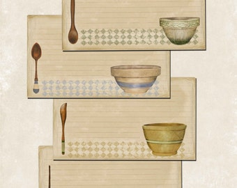 Recipe Cards, download, print,  primitive, farmhouse,