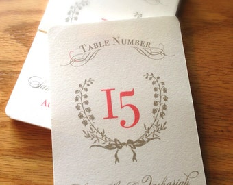 Sweet Summer Wreath Wedding Table Number Signs 1-15 - Lilly of the Valley - Custom Color