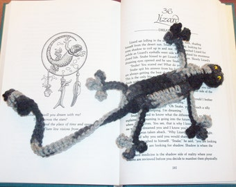 Squished Lizard Bookmark - Hand Crocheted Whimsical Bookmark - Black and Gray Tie Dye