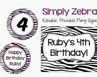 Welcome Signs, Purple and Zebra Birthday Party Decoration, Bridal Shower Decor, Wedding, Graduation -- Editable, Printable, Instant Download