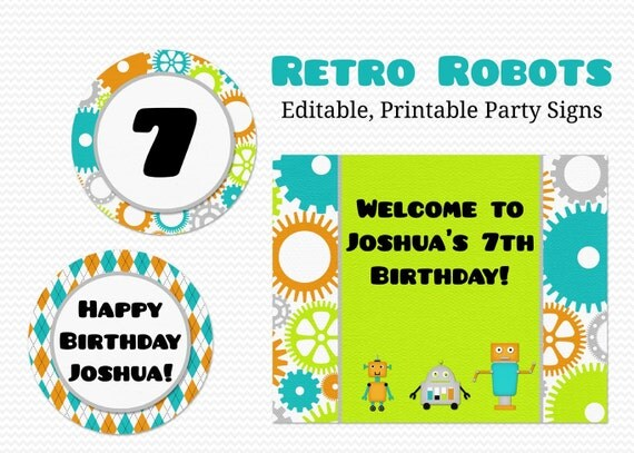 Robot Party Decoration, Baby Shower Decor, Welcome Sign, Birthday Party Signs, Party Supplies -- Editable, Printable, Instant Download