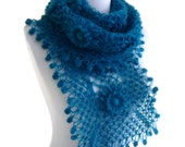 Turquoise crochet scarf, crochet flower scarf, turkish scarf style, unique gift, valentines day, 2014