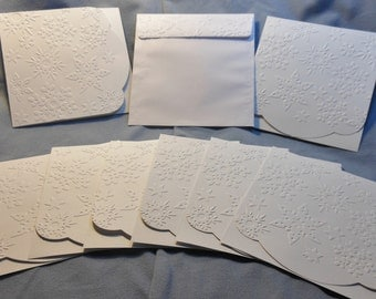 Set of 8, Embossed Christmas cards, White cards, blank cards, Square cards, Christmas cards, Snowflake cards, Stamped cards