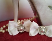 White Wedding  Bow Shoe Clips with Pearl & Diamentes FREE SHIPPING