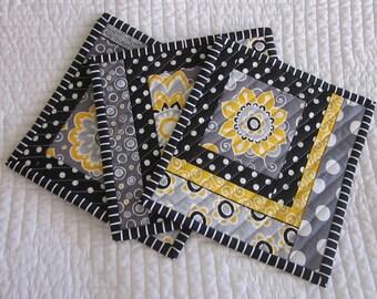 Mug Rug/Quilted Coaster--Black, Gray and Yellow