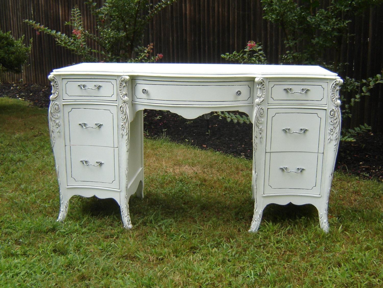 antique white ornate desk shabby chic furniture. Black Bedroom Furniture Sets. Home Design Ideas