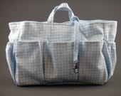 Diaper bag insert organizer blue - Gingham Baby Blue