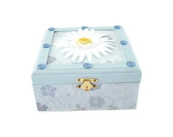 Trinket or Keepsake Box Decoupaged With Blue Print Paper Blue Jewels White Daisy Blue Paint