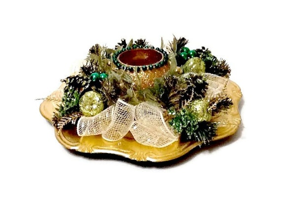 Embellished christmas charger plate centerpiece in green and