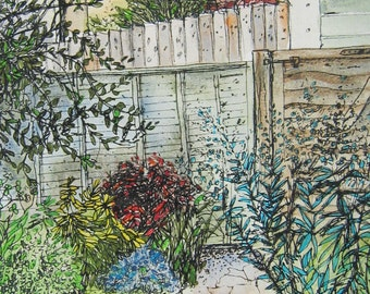 Original Watercolour and Mixed Media Painting, English Country Garden