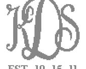 Modern Interlocking Monogram Cross Stitch Pattern Wedding Anniversary Housewarming