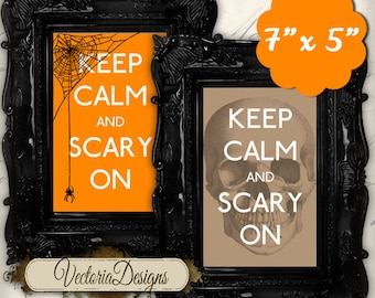 Halloween Printable Keep Calm and Scary On instant download printable images digital collage sheet VD0498