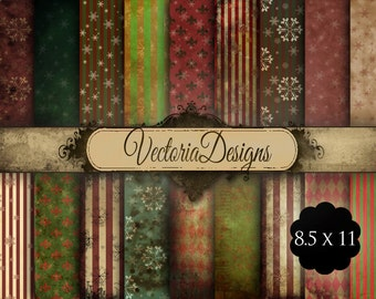 Shabby Chic Christmas Papers 11 x 8.5 inch printable paper pack paper crafting scrap digital paper printable digital collage sheet - VD0557