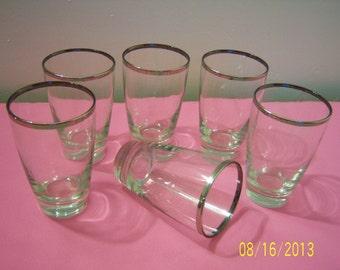 Dorothy Thorpe Style Silver Rimmed Drinking Glasses Set of Six  -  Mid Century Modern Glasses  -  Retro Tumblers