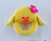 Duck Rattle  - PDF Crochet Pattern -  Instant Download - Animal Rattle Crochet Nursery Baby  Shower