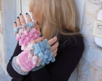 gloves handmade crochet fingerless gloves in pastel colors,gift for her/winter accessories women accessories all size by golden yarn