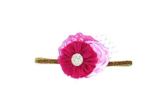 VALENTINE 2014 Pink Ombre & Gold Glitter Headband - Summer, Spring, Wedding, Baby Girl, Newborn, Photography Prop, Flower Headband