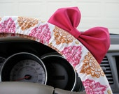 Steering Wheel Cover Bow, Burnished Orange and Pink Damask Steering Wheel Cover with Hot Pink Bow BF11069