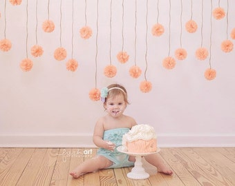 Mini Pom Pom Garland- flower garland // barn wedding decorations // rustic wedding decorations // shabby chic baby shower decorations