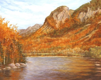 Eagle Cliff, Profile Lake in Franconia Notch State Park original oil painting