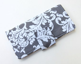 Women's Bifold Wallet - Gray and White Damask - Smart Phone Clutch - Choose Your Accent Fabric - Wristlet Option Available
