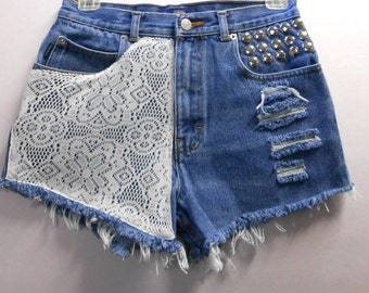 Waist  26  inches  Vintage High Waisted denim shorts -----Crochet Lace  and Studs--