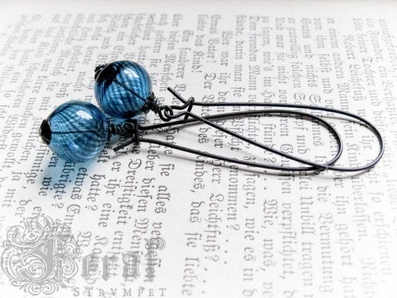Blue Glass Earrings.  Hollow Murano Glass. Roman Glass, Archeology Inspired