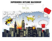 Superhero Skyline Explosion Backdrop (PDF file)
