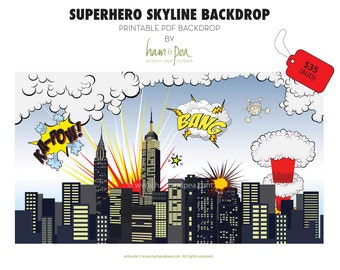 Superhero Skyline Explosion Backdrop (PDF file)