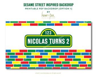 Sesame Street Inspired Backdrop (printable file option 1)