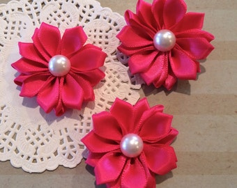 "Small Fushia Hot pink Fabric Flowers (6 pcs)  - 1.5"" Satin ribbon flowers pearl centers flower applique sweetheart flowers embellishment DIY"