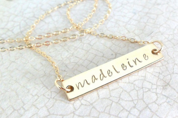 Gold Bar Necklace - Custom Name Necklace - Personalized Jewelry - Name Necklace - Hand Stamped - Gold Fill - Horizontal Bar - Handwriting