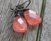 Cherry Quartz Earrings - Oxidized Copper Wire Wrapped earrings, copper earrings, gemstone earrings, cherry quartz earrings, rustic earrings