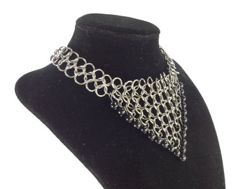 Renaissance Wedding Chainmaille Necklace With Black Glass Beads