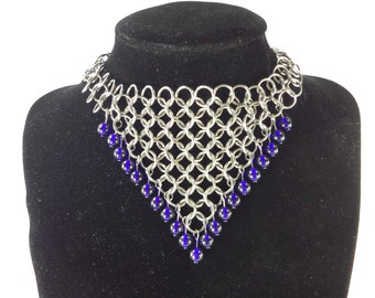 Chainmaille Wedding Headdress Necklace With Cobalt Blue Glass Beads