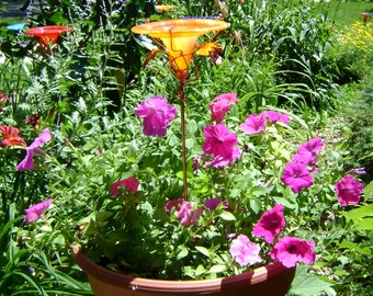 CONTAINER GARDENING, Orange-Yellow, Bird and Butterfly Feeder, stained glass, copper art, garden stake, Garden Art
