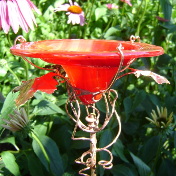 Hostess Gift, BUTTERFLY and BIRD Feeder, stained glass, Garden Art, copper art, Sunset Red