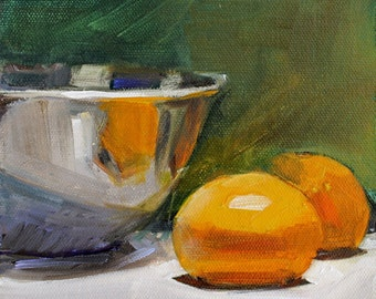Tangerines, Silver Bowl on Green Background