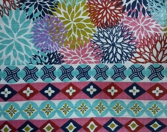 8 Japanese patterns in 1 fabric, turquoise, fat quarter, pure cotton fabric