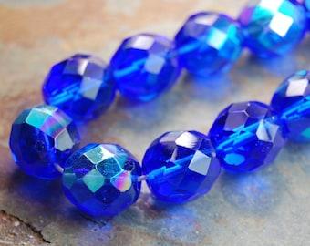 10mm AB Cobalt Blue Czech Glass Beads   - 10