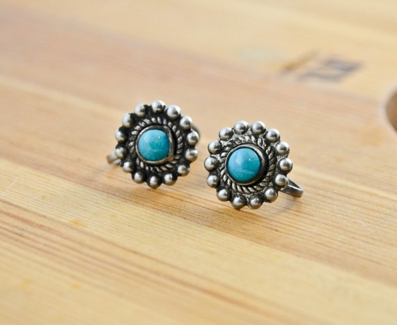 RESERVED for WENDY: Small Silver and Turquoise Corkscrew Earrings