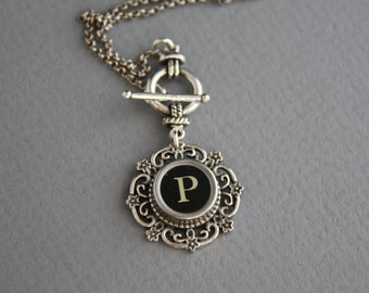 """Typewriter Key Necklace - Vintage Black Key P- Letter """"P""""-Glass Covered Letter P-Toggle Clasp-Intial Letter P"""