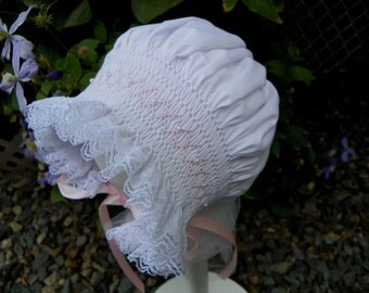 3 to 12 month   White with  Pearls Bonnet